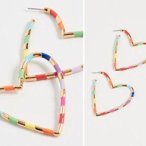 Rainbow Heart Hoop Earrings